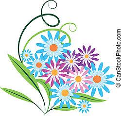 bukett, av, vår blommar