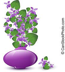 bukett av, vild, violett