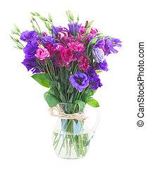 bukett, av, violett, och, mauve, eustoma, blomningen