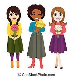 bukett, blomma, tre, holdingen, kvinnor