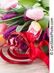 bukett, flerfärgad, hjärta, tulpan, blomningen