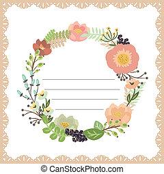 bukett, söt, blomma, kort