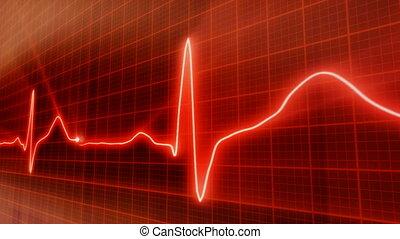 bukfenc, piros háttér, elektrokardiogramm, érverés