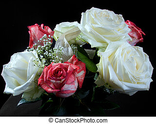 bukiet, ślub, białe kwiecie, barwny, czerwony
