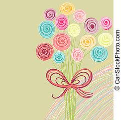 bukiet, abstrakcyjny, kwiaty