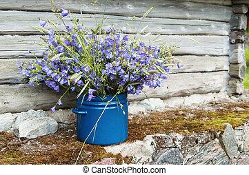 bukiet, amidst, pole, wiejski, kwiaty, krajobraz