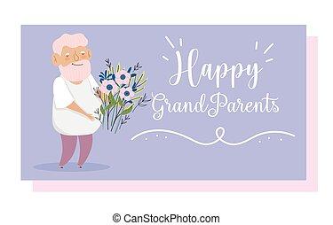 bukiet, dzień, sprytny, karta, dziadkowie, kwiaty, dziadek, rysunek, szczęśliwy