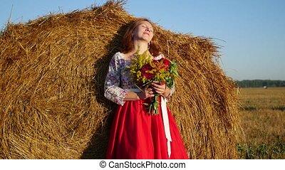 bukiet, dziewczyna, kwiaty, przedstawianie