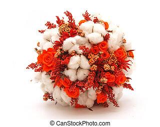 bukiet, kwiaty, bawełna, utrzymany, ślub