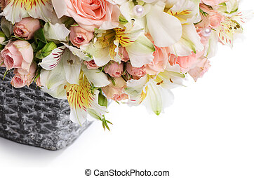 bukiet, od, piękny, kwiaty, w, kosz