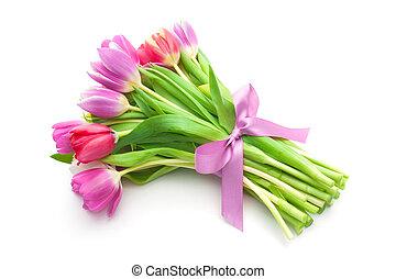 bukiet, od, wiosna, tulipany, kwiaty