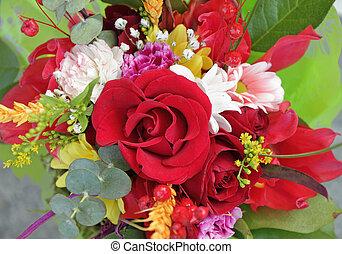 bukiet, róża, multicolor, czerwony