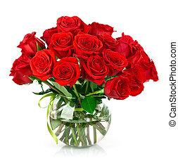 bukiet, róże, czerwony