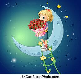 bukiet, róże, dziewczyna, chodzenie, księżyc