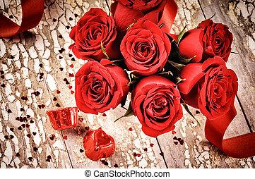 bukiet, róże, zmontowanie, czerwony, valentine