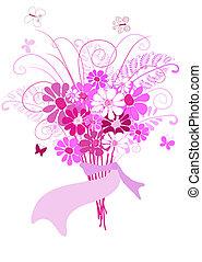 bukiet, różowe kwiecie, (vector)