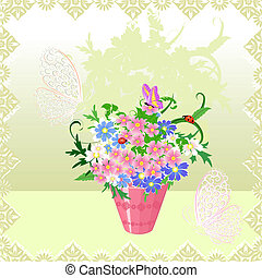 bukiet, wiosna, wazon