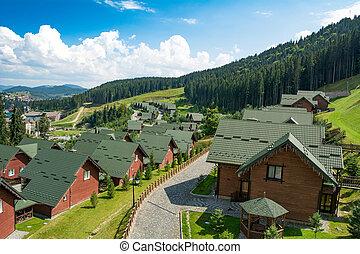 Bukovel, Ukraine - August 21, 2018: Wooden houses in the ski resort