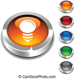 Bulb 3d button. - Bulb 3d button set. Vector illustration....