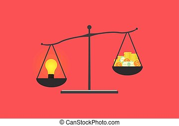 bulb and money balance on scale