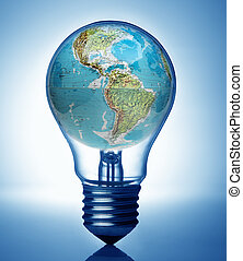 Bulb and overuse global energy concept