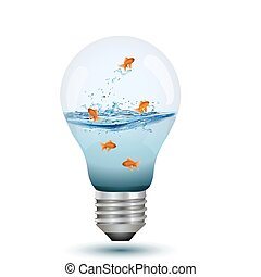 bulb as fish tank - illustration of natural bulb with water...