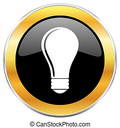 Bulb black web icon with golden border isolated on white background. Round glossy button.