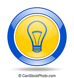 bulb blue and yellow web glossy round icon