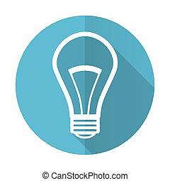 bulb blue flat icon light bulb sign