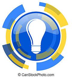 bulb blue yellow glossy web icon