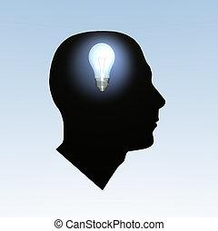 Bulb Brain - Light bulb turning on inside a head.