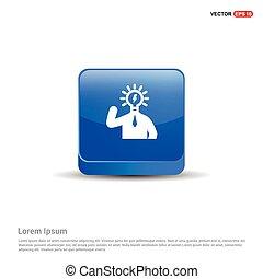 bulb concept Creative idea icon - 3d Blue Button