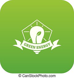 Bulb eco energy icon green vector