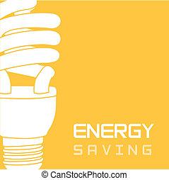 energy saving - bulb electric over yellow background, energy...