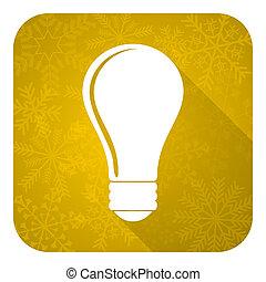bulb flat icon, gold christmas button, idea sign