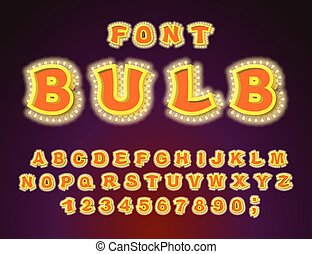 Bulb font. Glowing letters. Retro Alphabet with lamps.