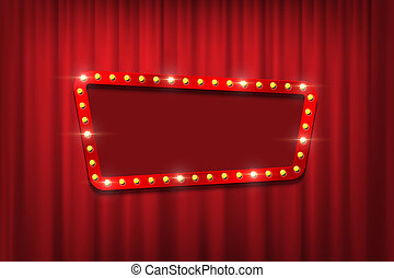 Bulb frame with empty space on red curtains background. Vector design element.