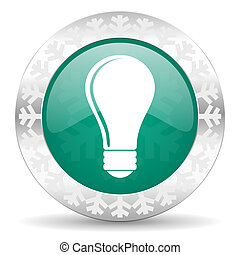 bulb green icon, christmas button, idea sign