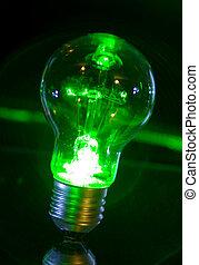 Bulb green power - Concept of classic bulb green power light...