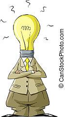 Bulb head - Cartoon light bulb head man, vector illustration