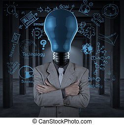 bulb headed businessman and business plan concept on wall background as concept