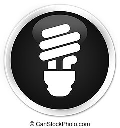 Bulb icon black glossy round button