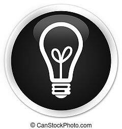 Bulb icon black glossy round button