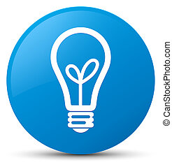 Bulb icon cyan blue round button - Bulb icon isolated on...