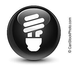 Bulb icon glassy black round button