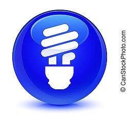 Bulb icon glassy blue round button