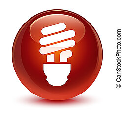 Bulb icon glassy brown round button