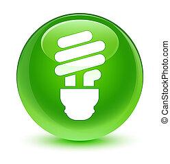 Bulb icon glassy green round button