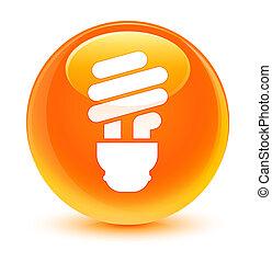 Bulb icon glassy orange round button