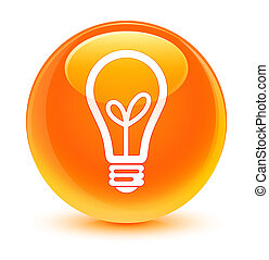 Bulb icon glassy orange round button